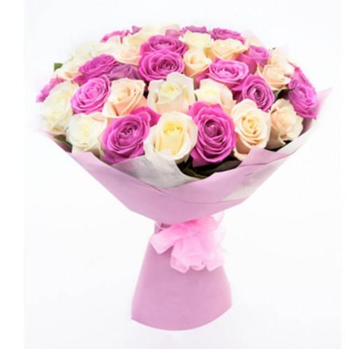 Роза розовая и белая 51