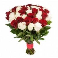 Роза белая с красной 25