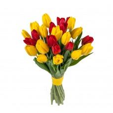 Тюльпаны желтые с красными